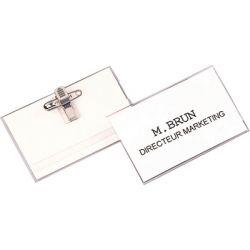 Fellowes badge avec clip et épingle, transparent, en PVC,