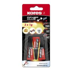 "Kores colle instantanée ""PowerGlue"" en gel, 3 tubes de 1 g"